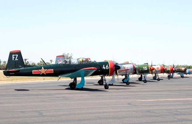 Falcon Field   Warbirds in a row wb